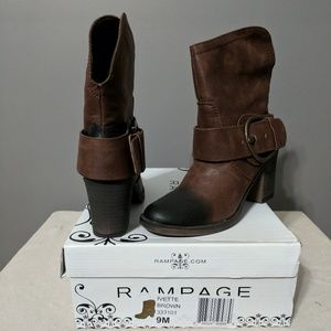 Rampage Ivette Brown Distressed Boots, size 9M